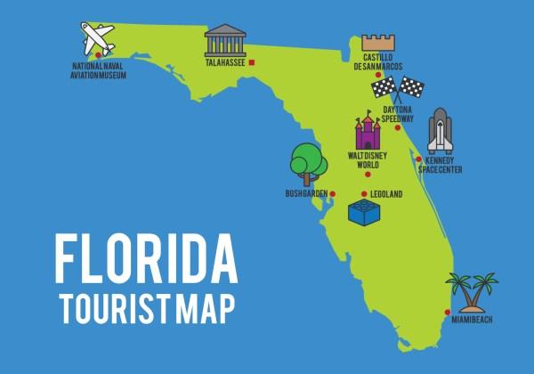 Cartoon Map Of Florida State - Free Vector Art