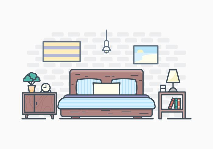 Free Simple Bedroom Illustration  Download Free Vector Art Stock Graphics  Images
