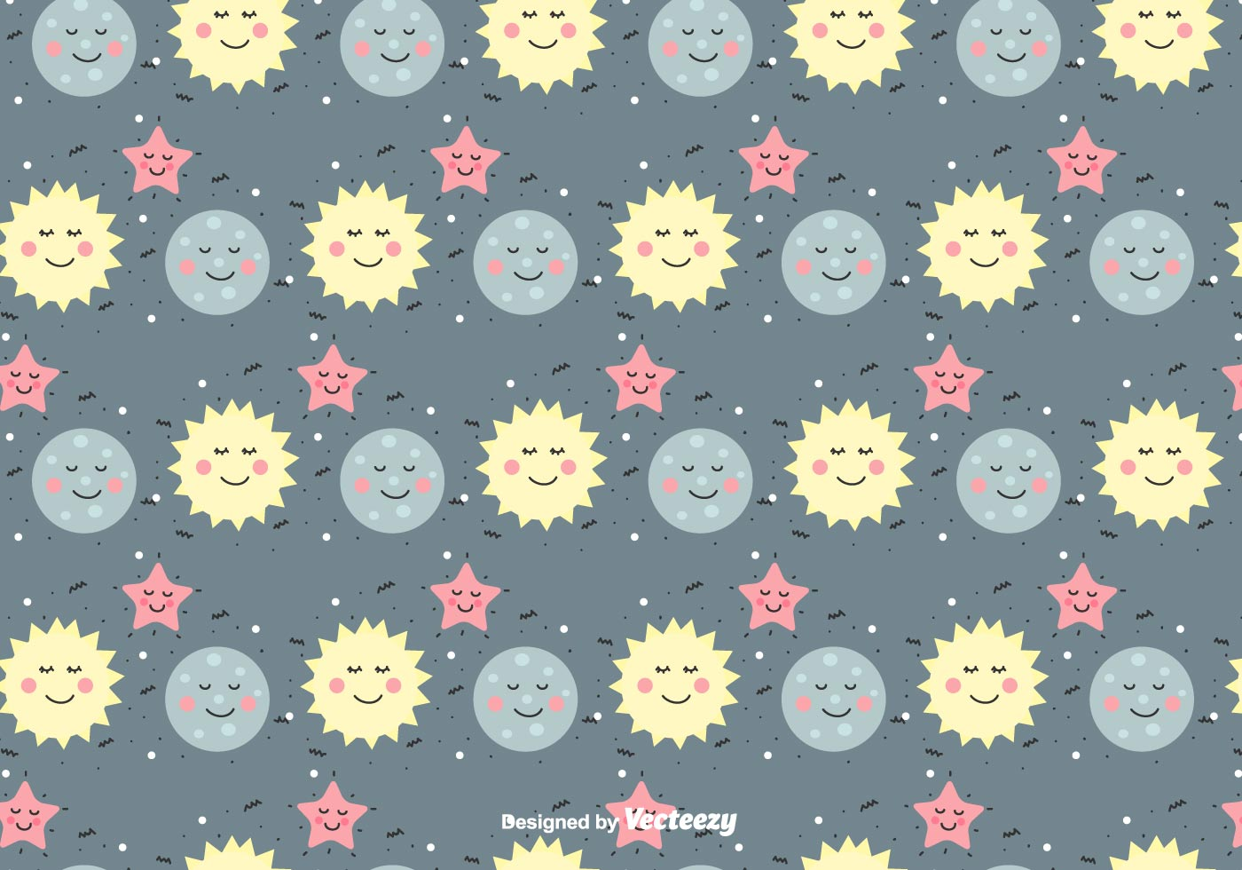 Sun Moon And Star Vector Pattern