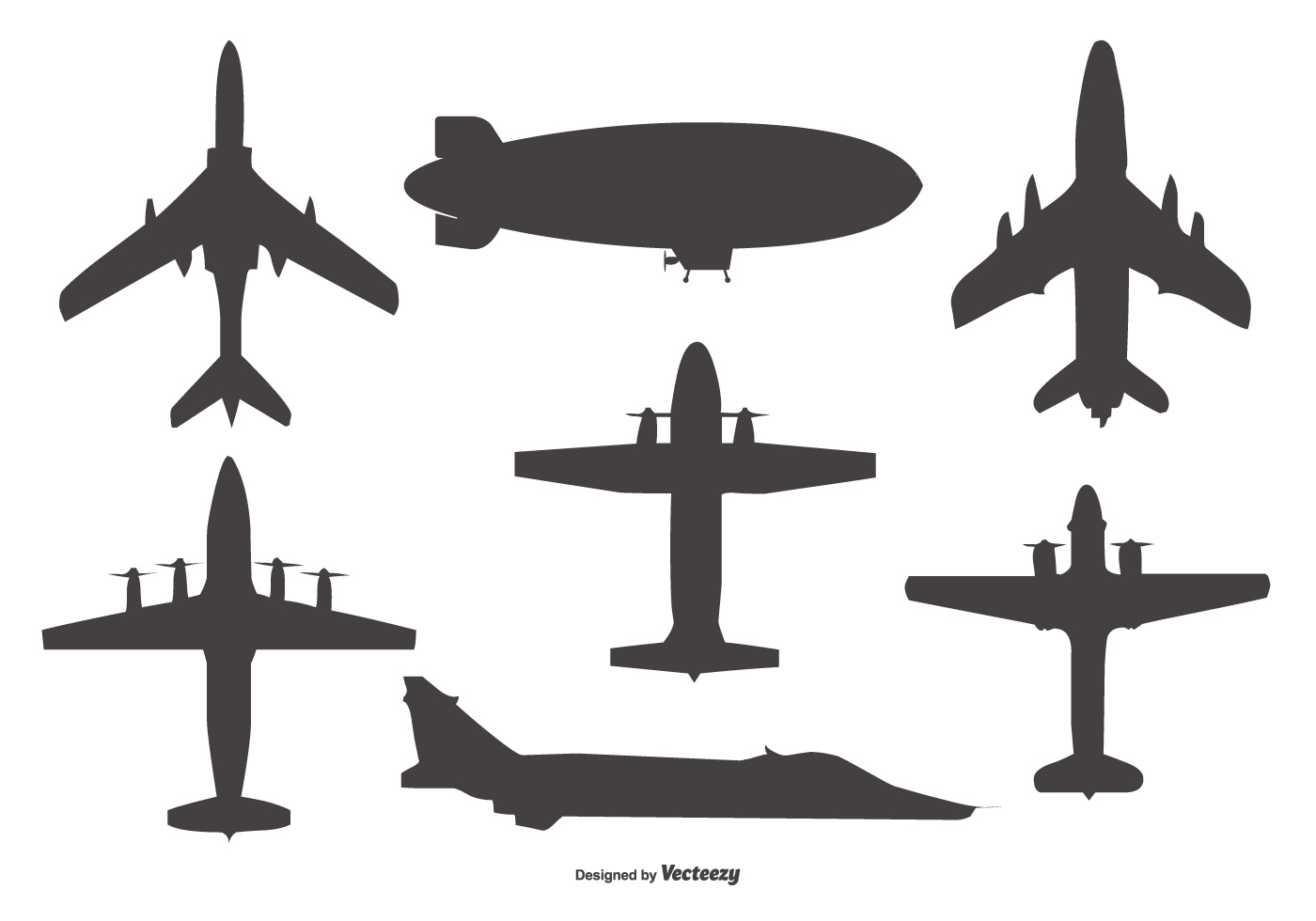 Airplane Silhouette Free Vector Art