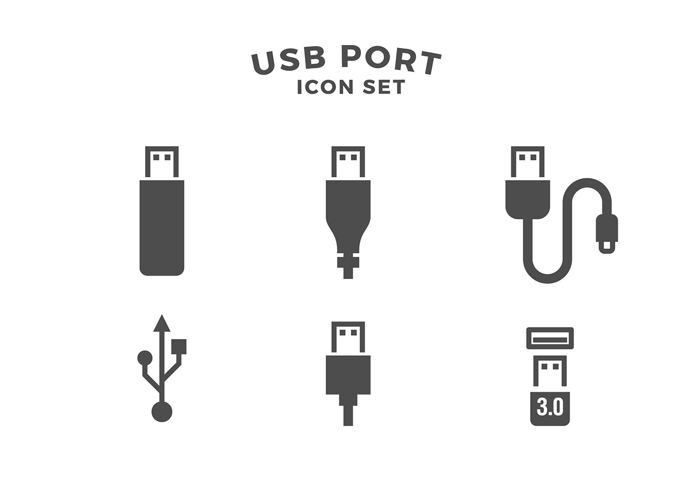 Usb Port Icon Set Free Vector