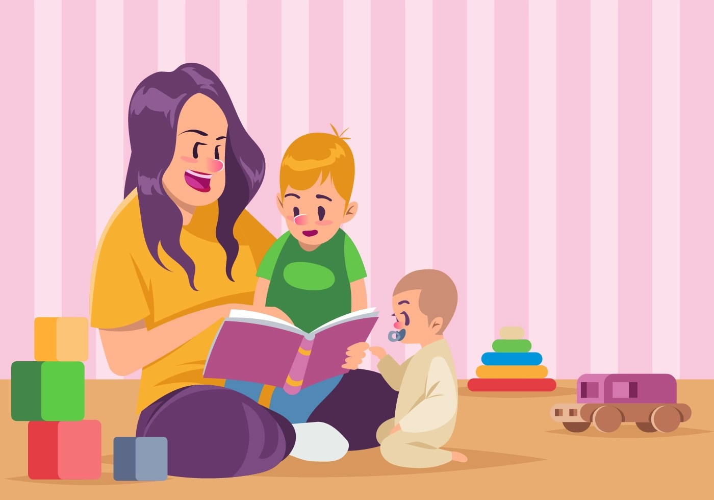 Nanny And Kids Reading A Book Together Vector Download