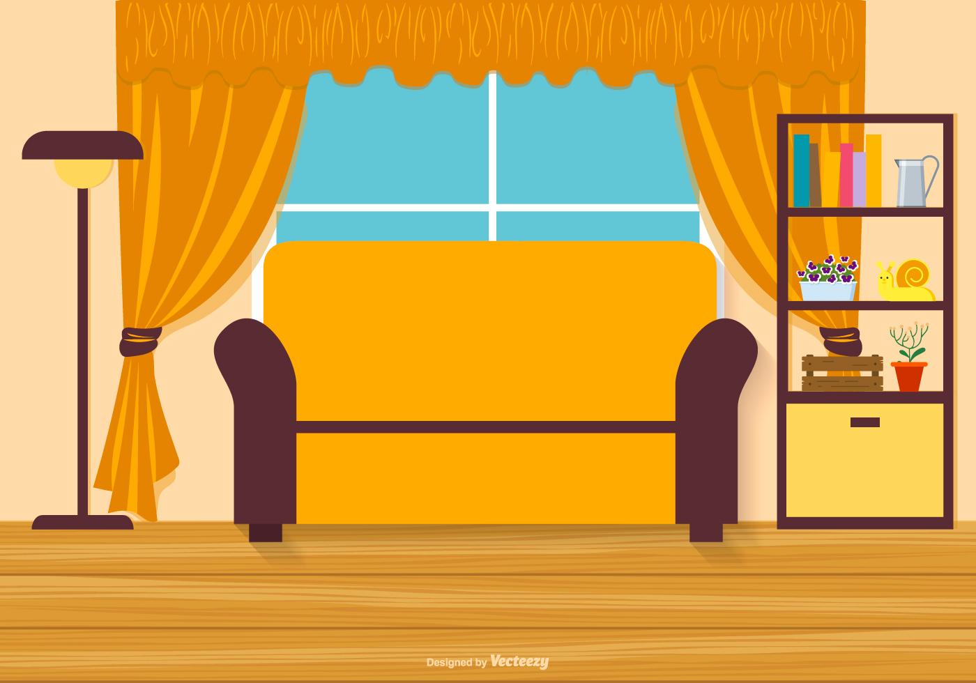 mid century modern living room armchair interior design vector flat style illustration with laminate ...