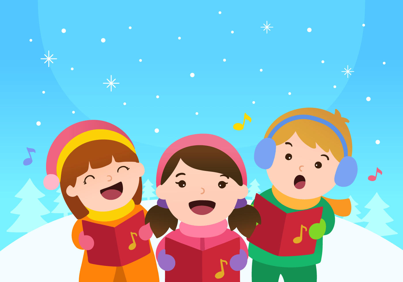 Kids Singing Christmas Carols Vector Download Free