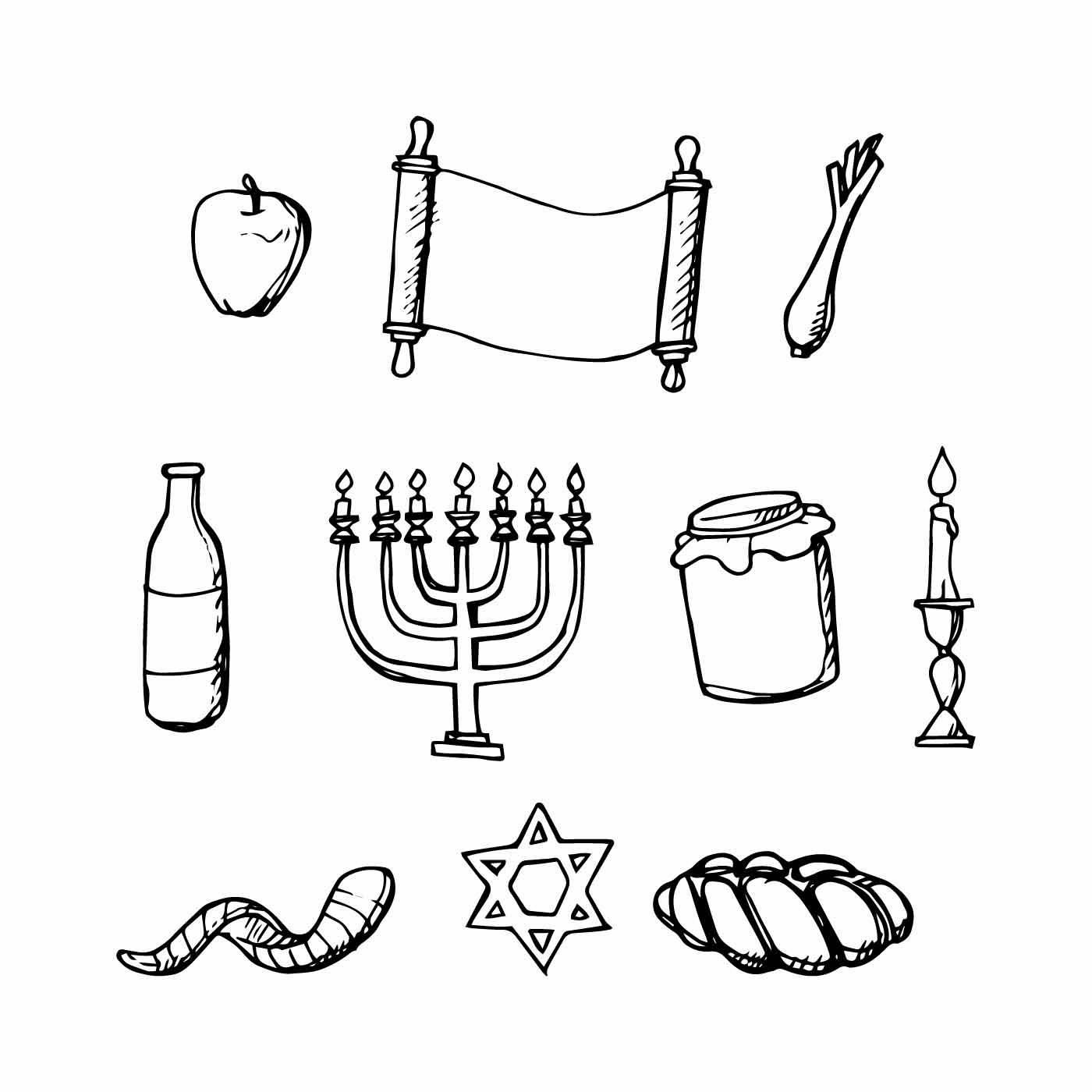 Free Jewish Holiday Hand Drawn Icon Vector