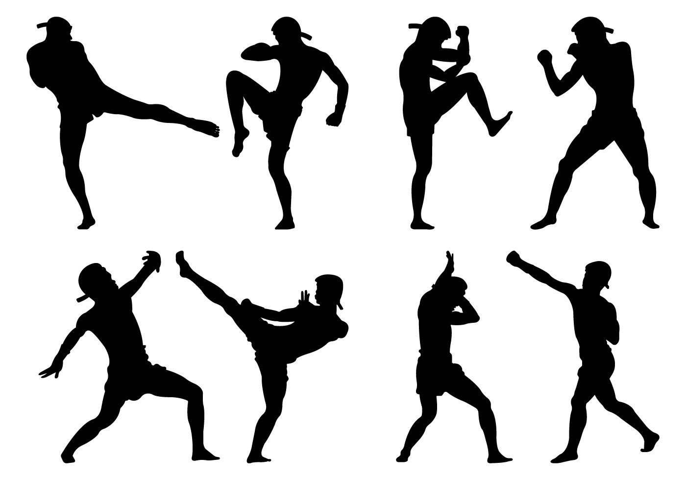 Silhouette Muay Thai Pose Vector Collection
