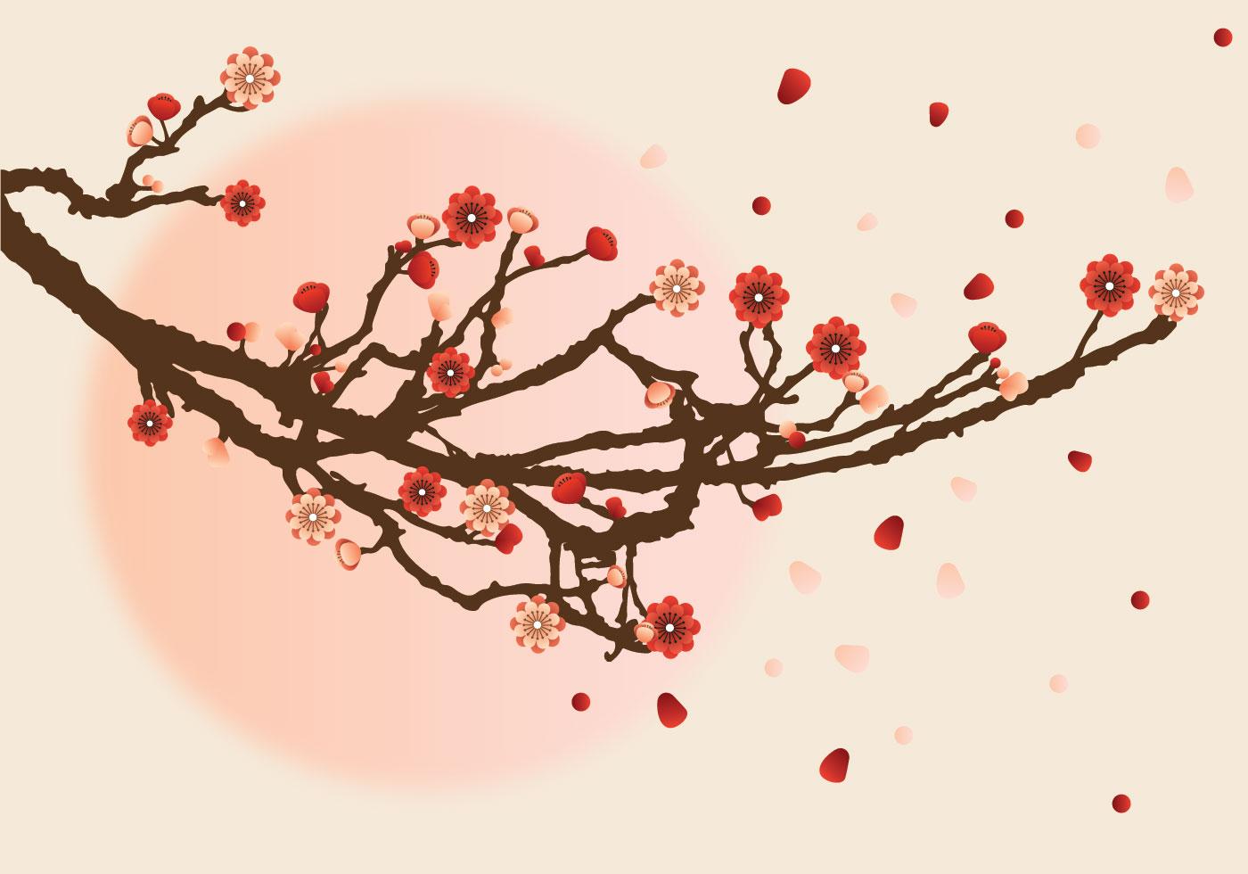 Falling Cherry Blossoms Wallpaper Plum Flower Free Vector Art 7982 Free Downloads