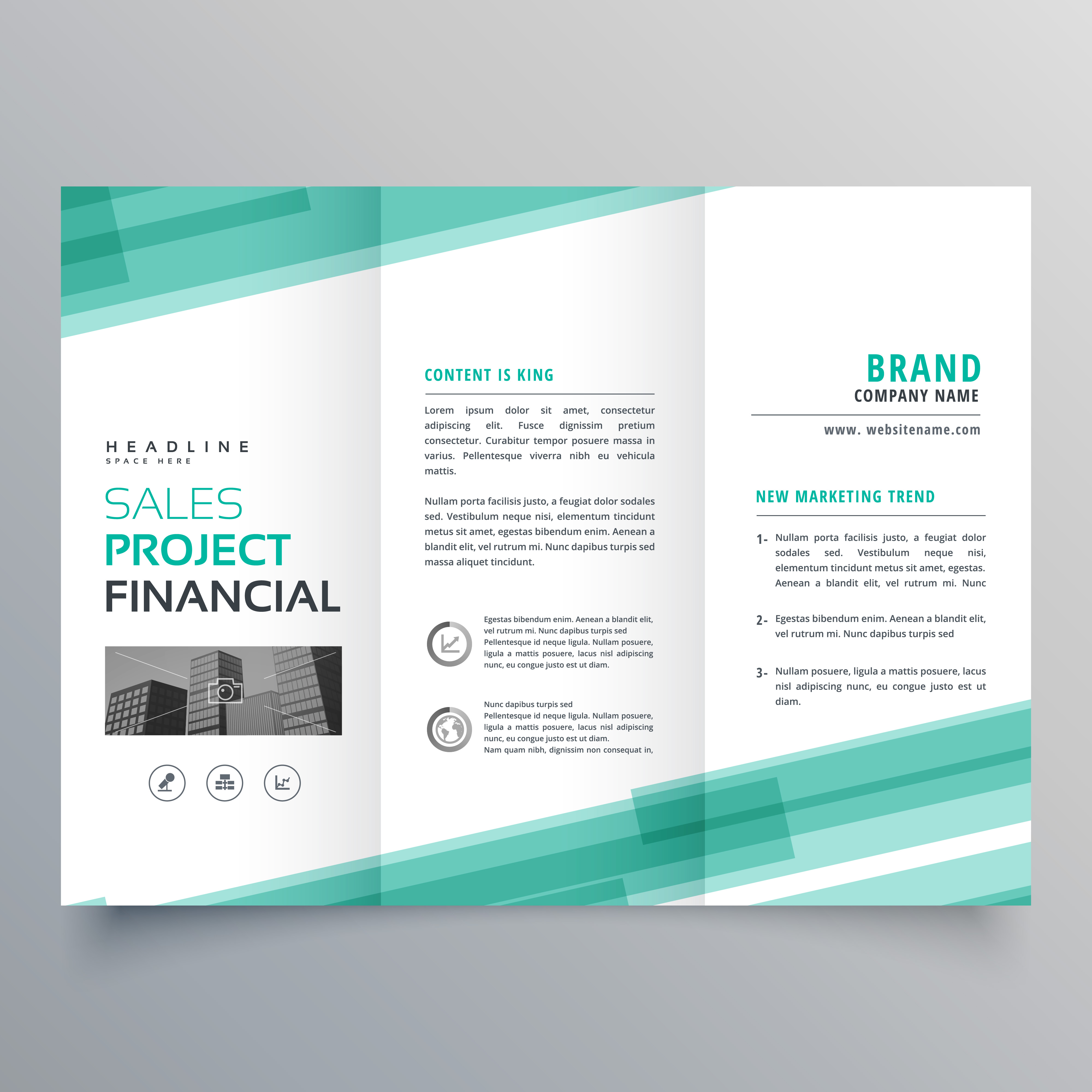 Abstract Green Trifold Template Brochure Design Download
