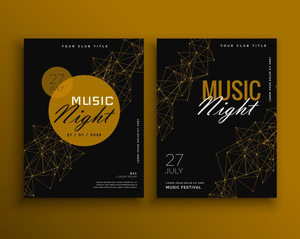 Music Night Party Flyer Vector Template Design - Free Art Stock Graphics &