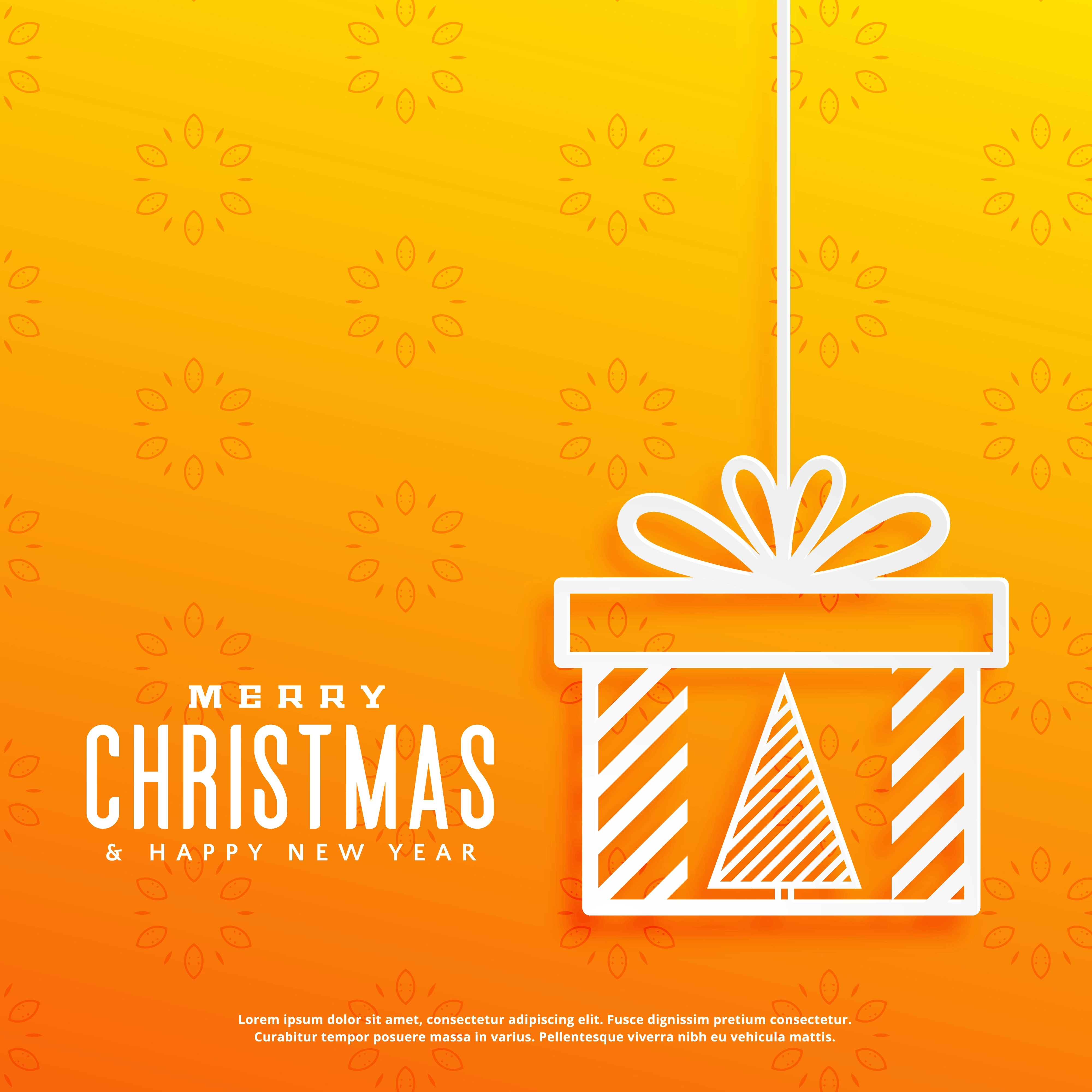 Yellow Background With Christmas Tree Inside A Gift Box