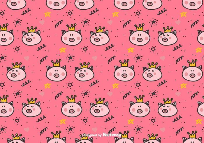 Cute Raccoon Wallpaper Princess Pigs Vector Pattern Download Free Vector Art