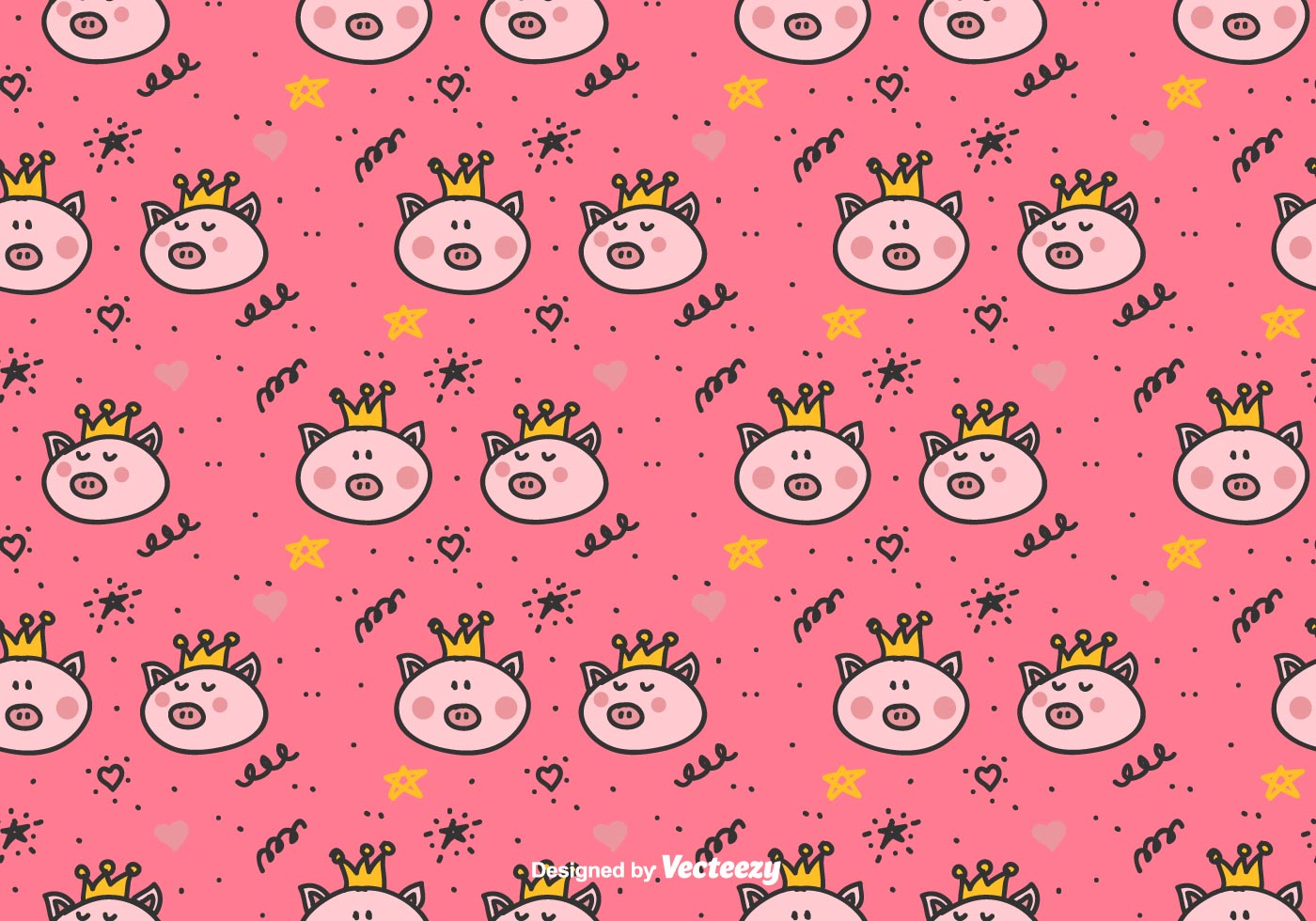 Wallpaper Cute Little Girl Cartoon Princess Pigs Vector Pattern Download Free Vector Art