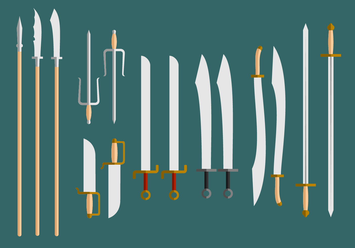 Wushu Weapons Vector  Download Free Vector Art Stock Graphics  Images