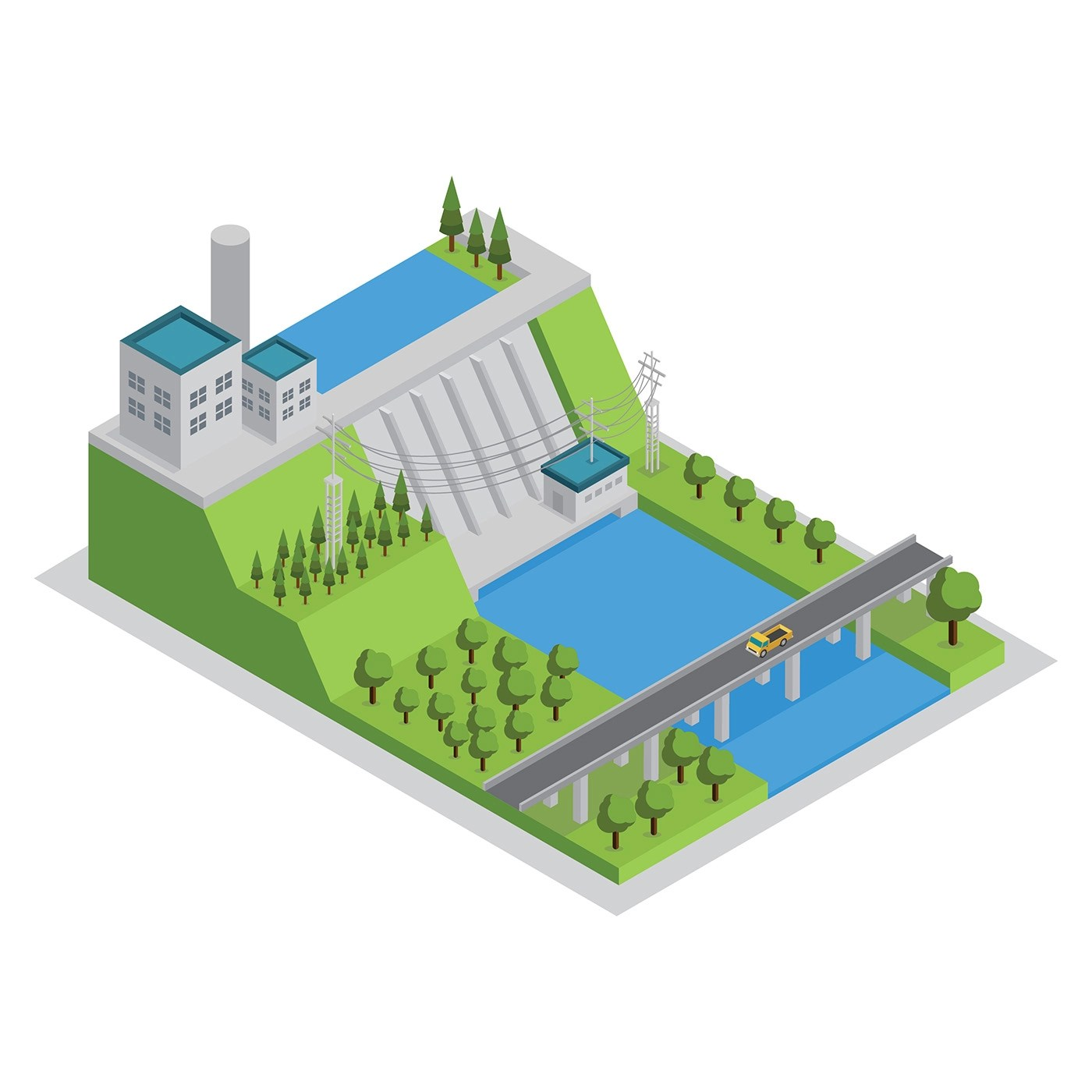 Hydro Electric Power Plant Isometric Free Vector