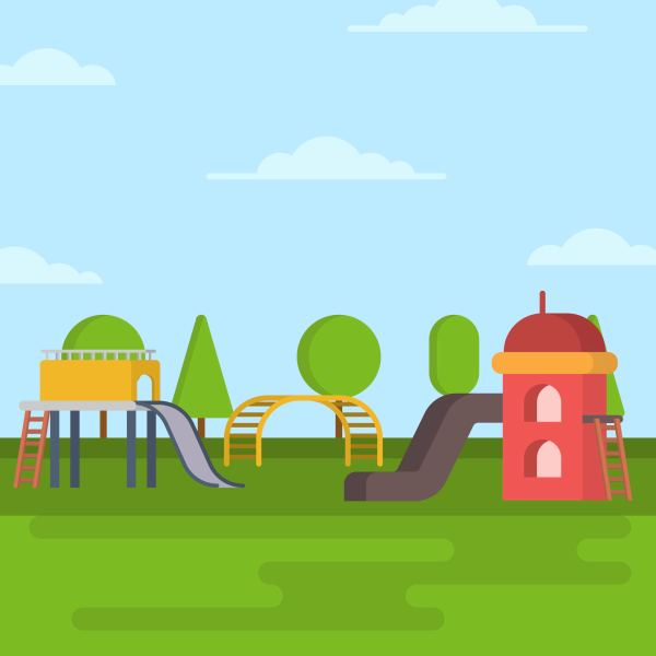 Flat Playhouse Vector Illustration - Free Art Stock Graphics &