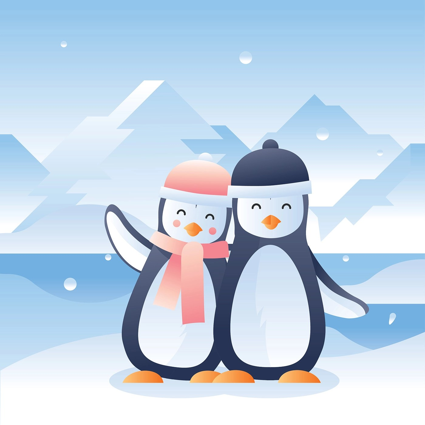 Free Snow Falling Animated Wallpaper Penguins In Love Vector Download Free Vector Art Stock
