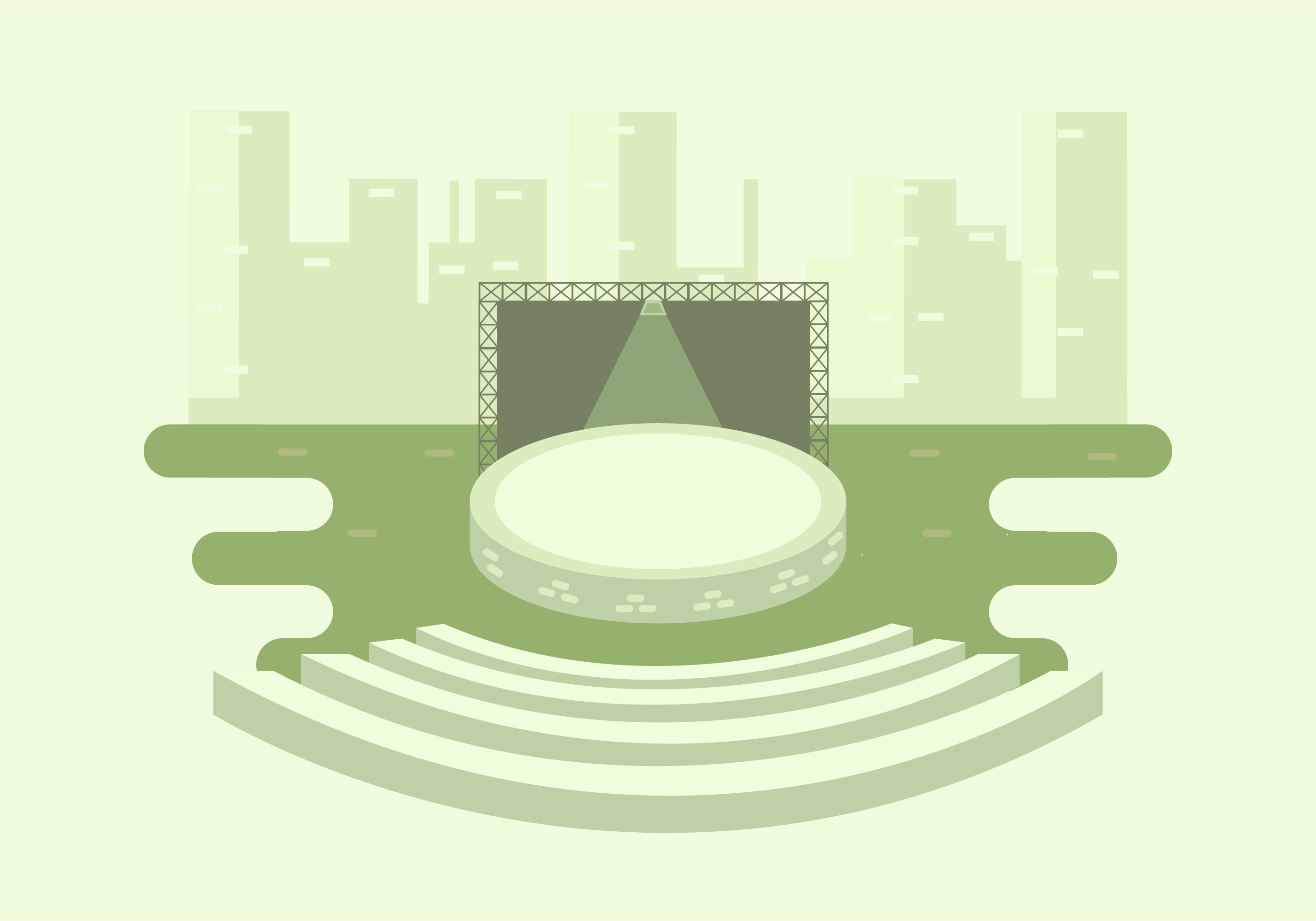 A Stage With City Background Download Free Vector Art