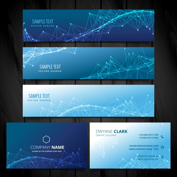Business Card And Web Banners Collection Vector