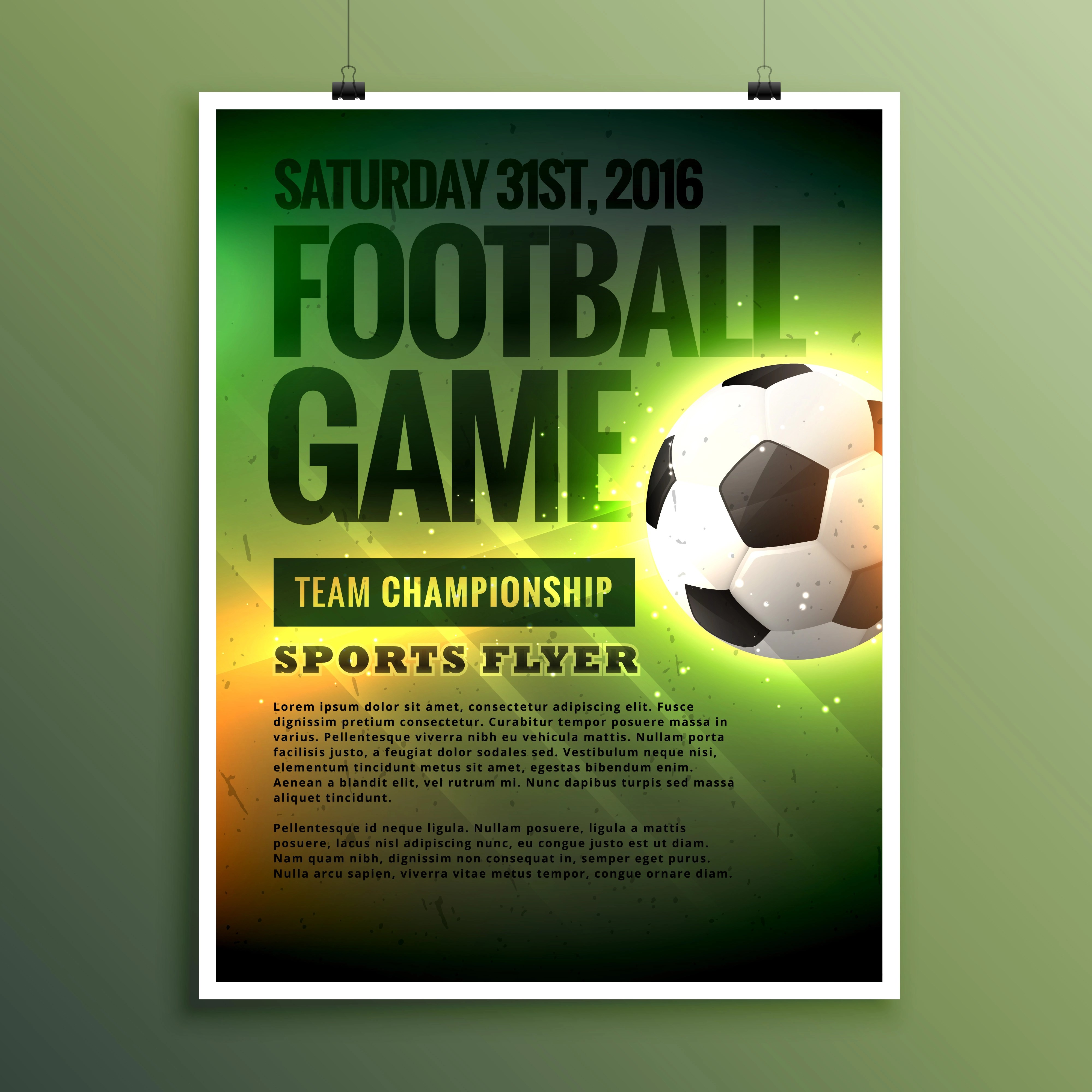 Football Game Flyer Design Card Invitation Template - Download Free Vector  Art, Stock Graphics & Images