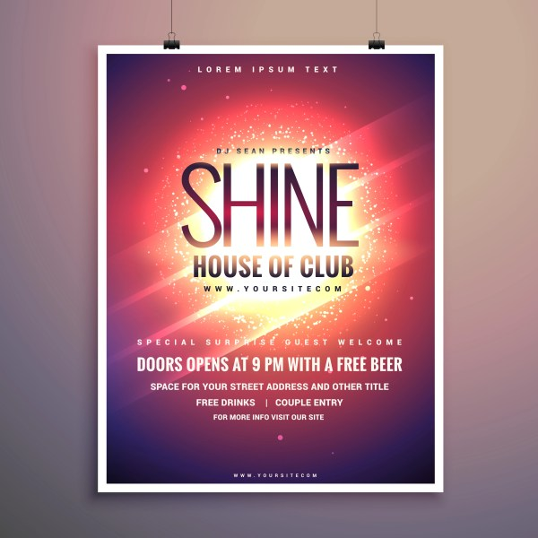 Shine Club Music Party Flyer Template With Glowing Background - Free Vector Art Stock
