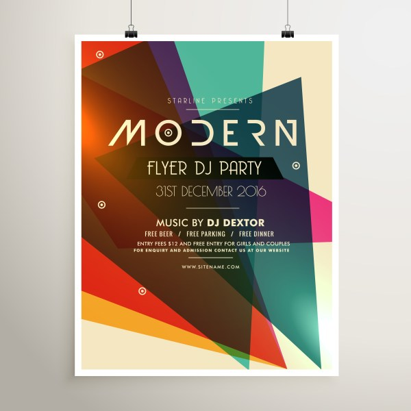 Modern Retro Style Party Flyer Poster Template - Free Vector Art Stock Graphics &