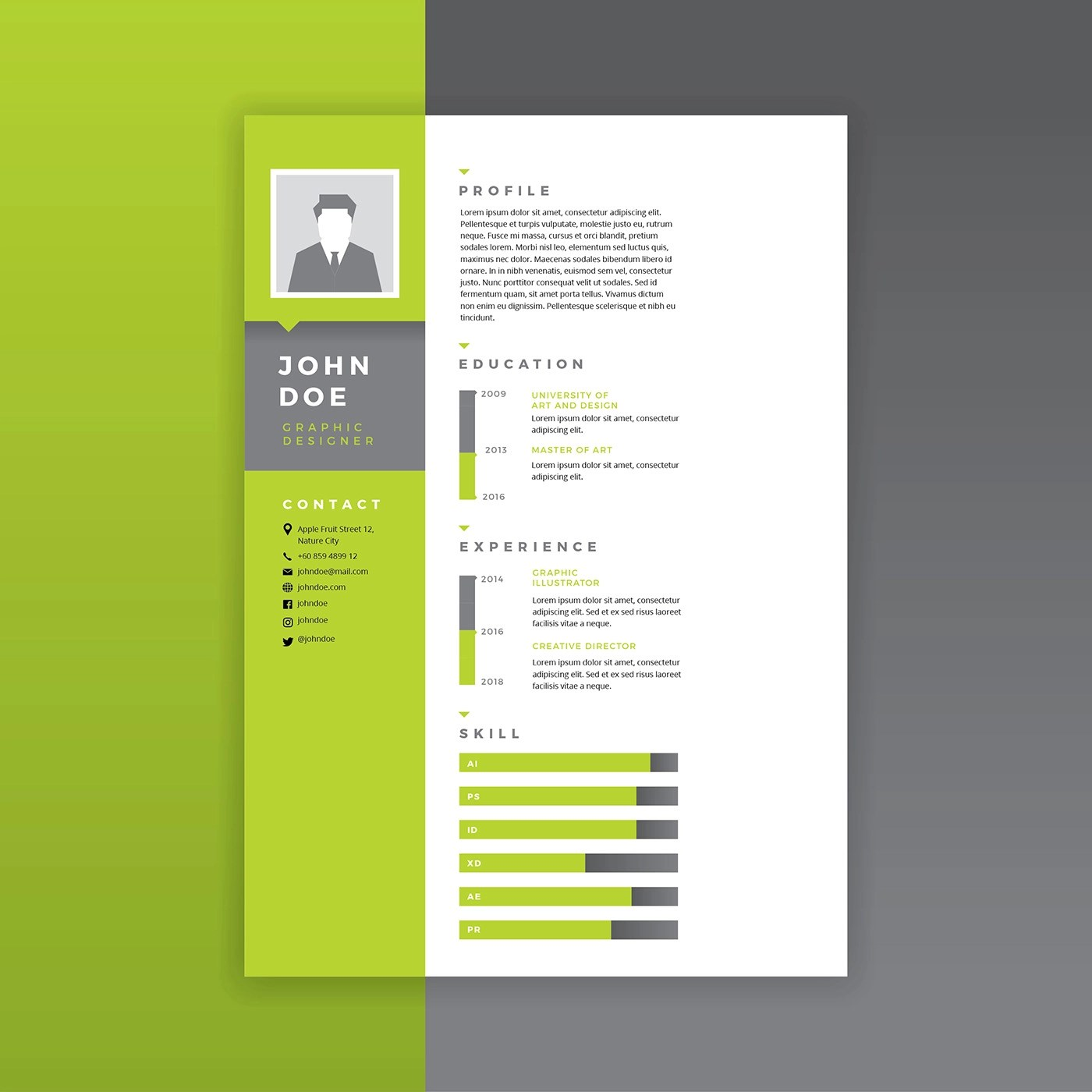 Graphic Designer Resume Green Vector Download Free