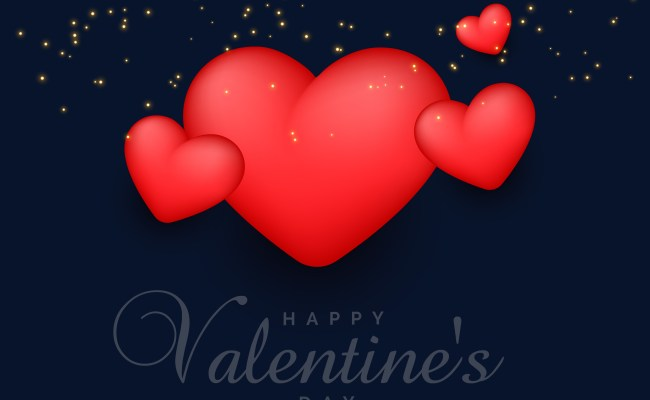 3d Red Hearts Background With Sparkles For Valentine S Day