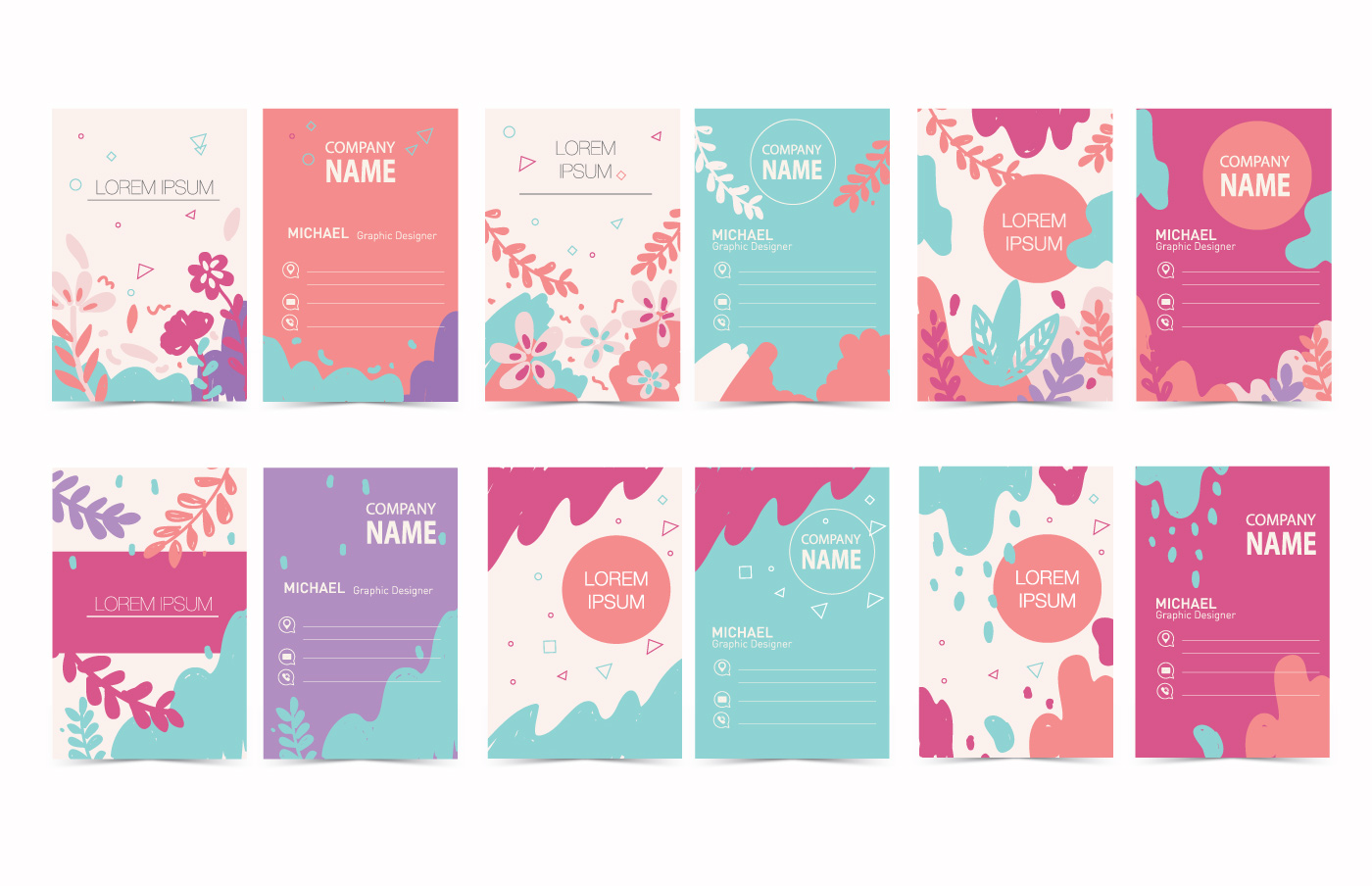 Colorful Graphic Design Business Card Vector  Download