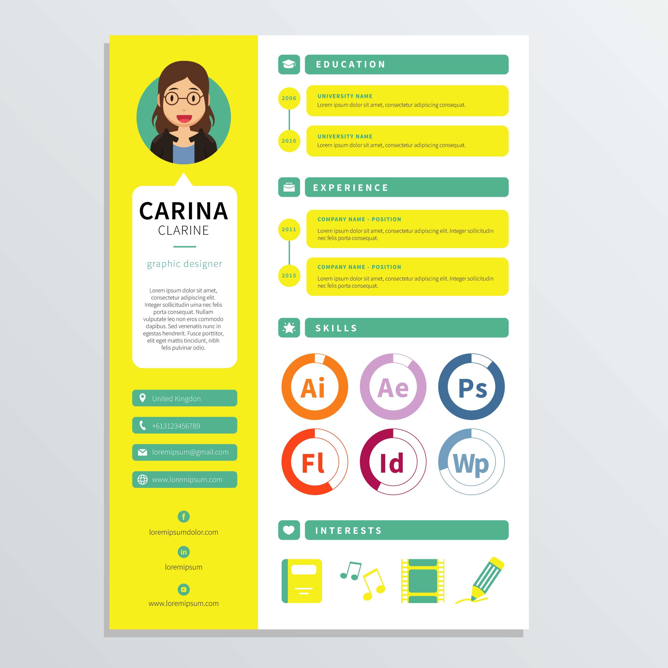 Graphic Designer Resume Template Download Free Vector