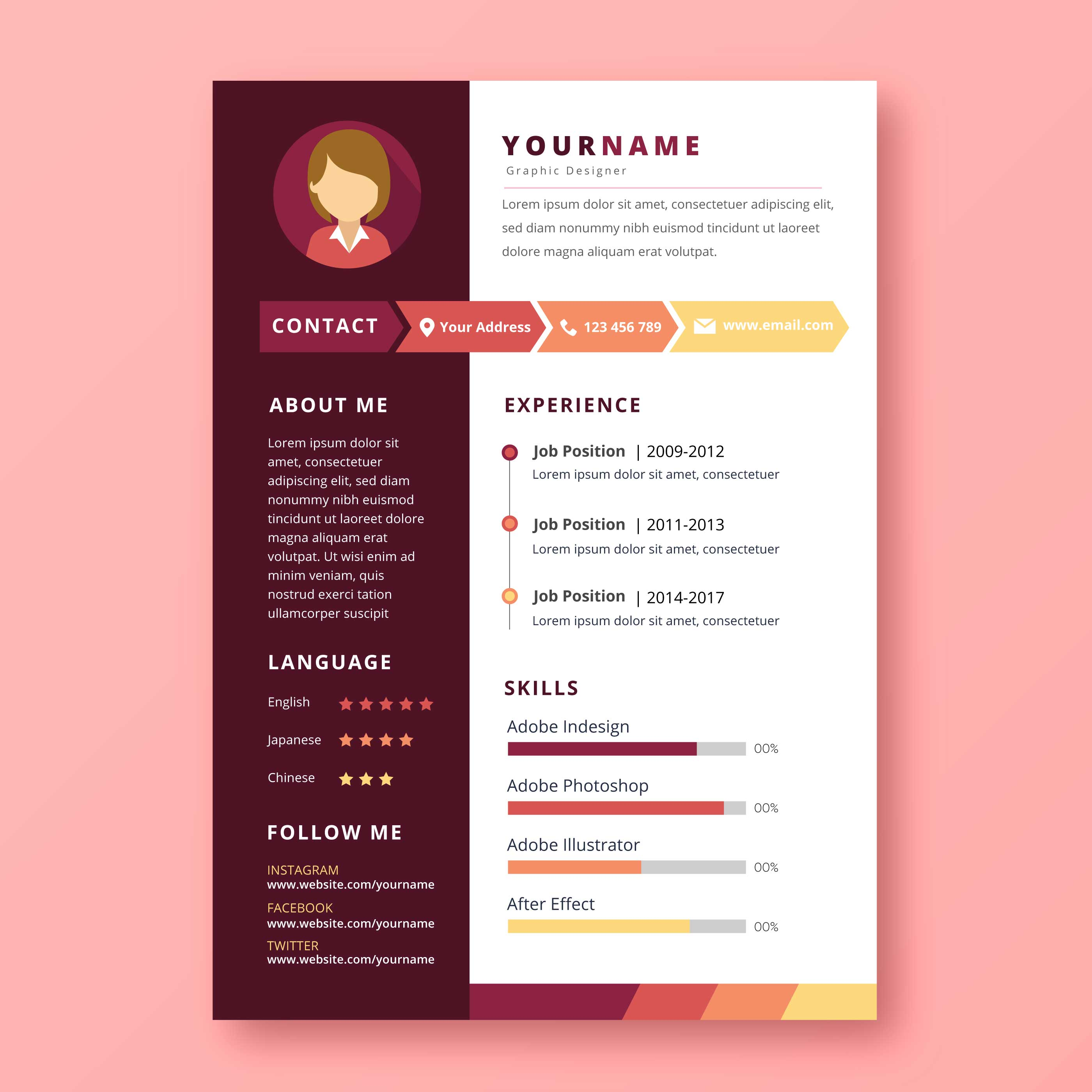 Graphic Designer Resume  Download Free Vector Art Stock Graphics  Images