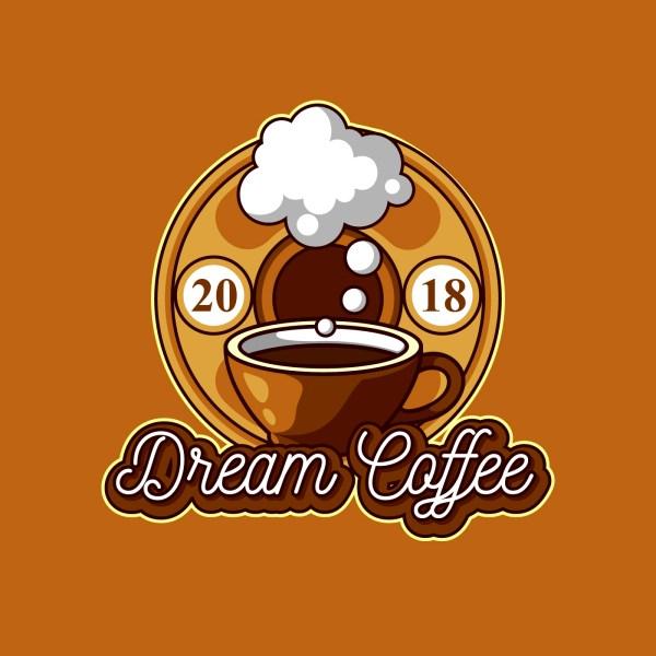 Dream Coffee Logo Free Vector