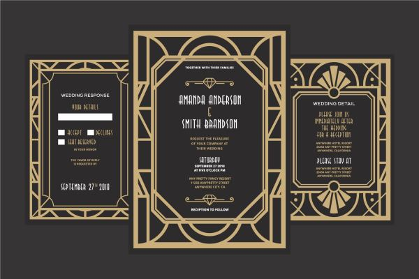 Art Deco Wedding - Free Vector Stock Graphics &