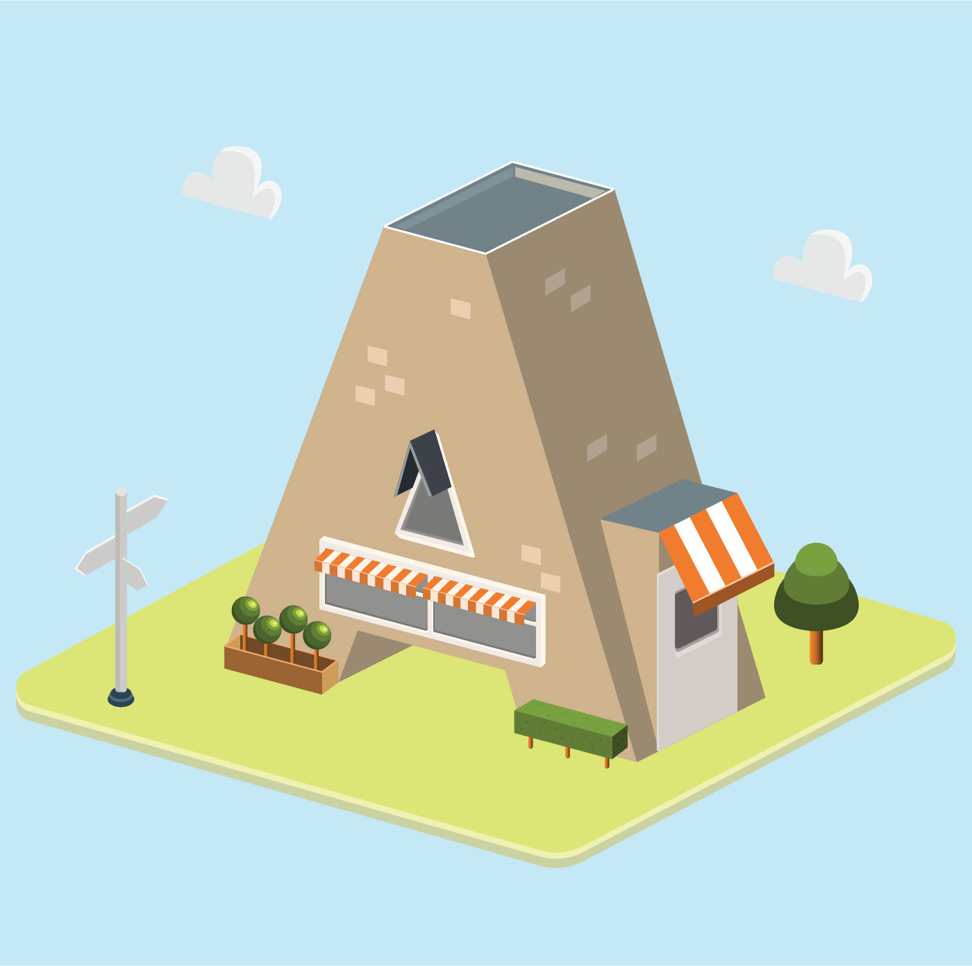 Isometric Letter A Typography Vector  Download Free