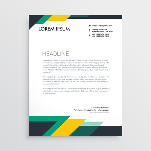 Modern Letterhead Design Template With Geometric Shapes