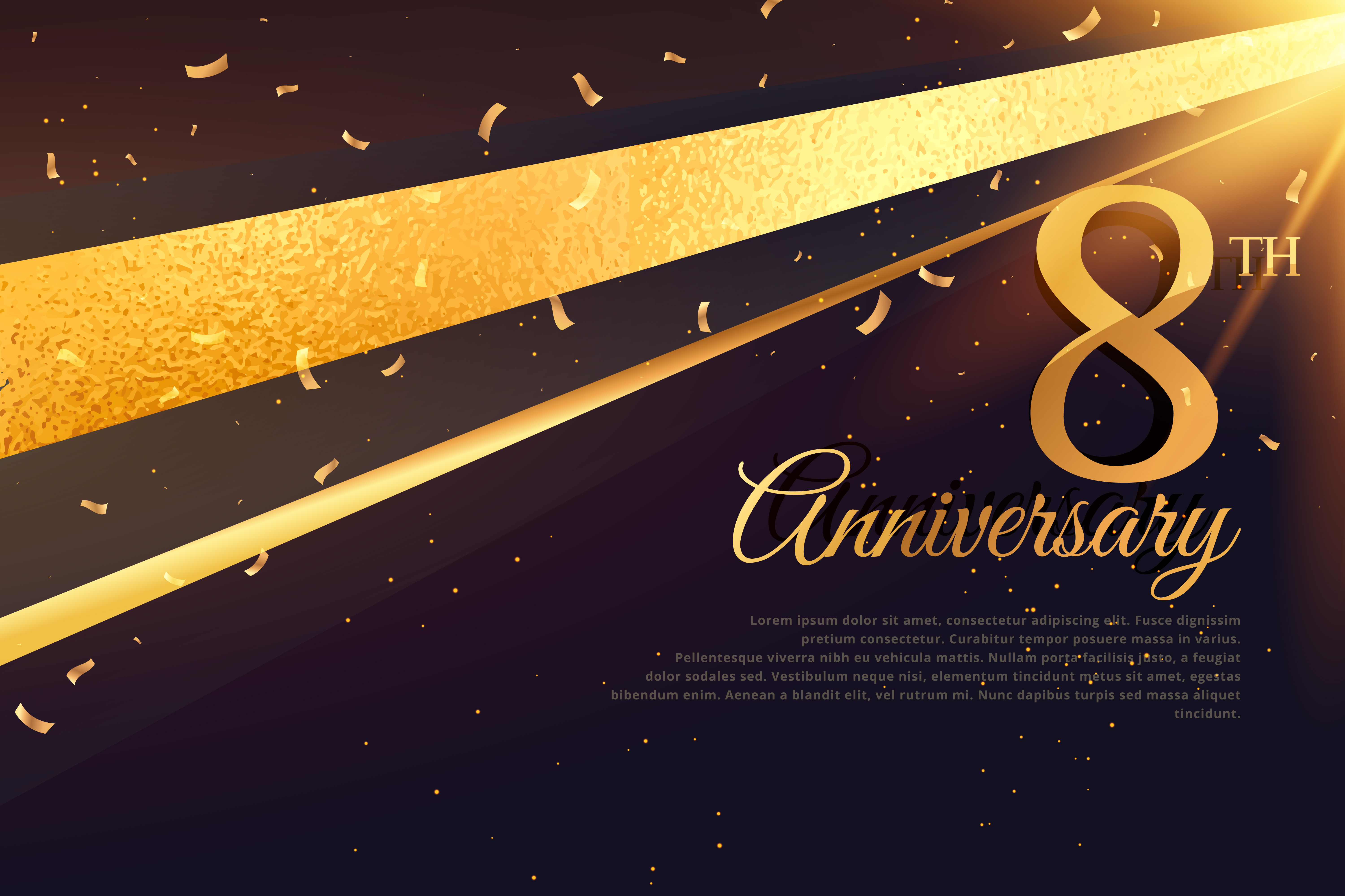8th Anniversary Celebration Card Template Download Free