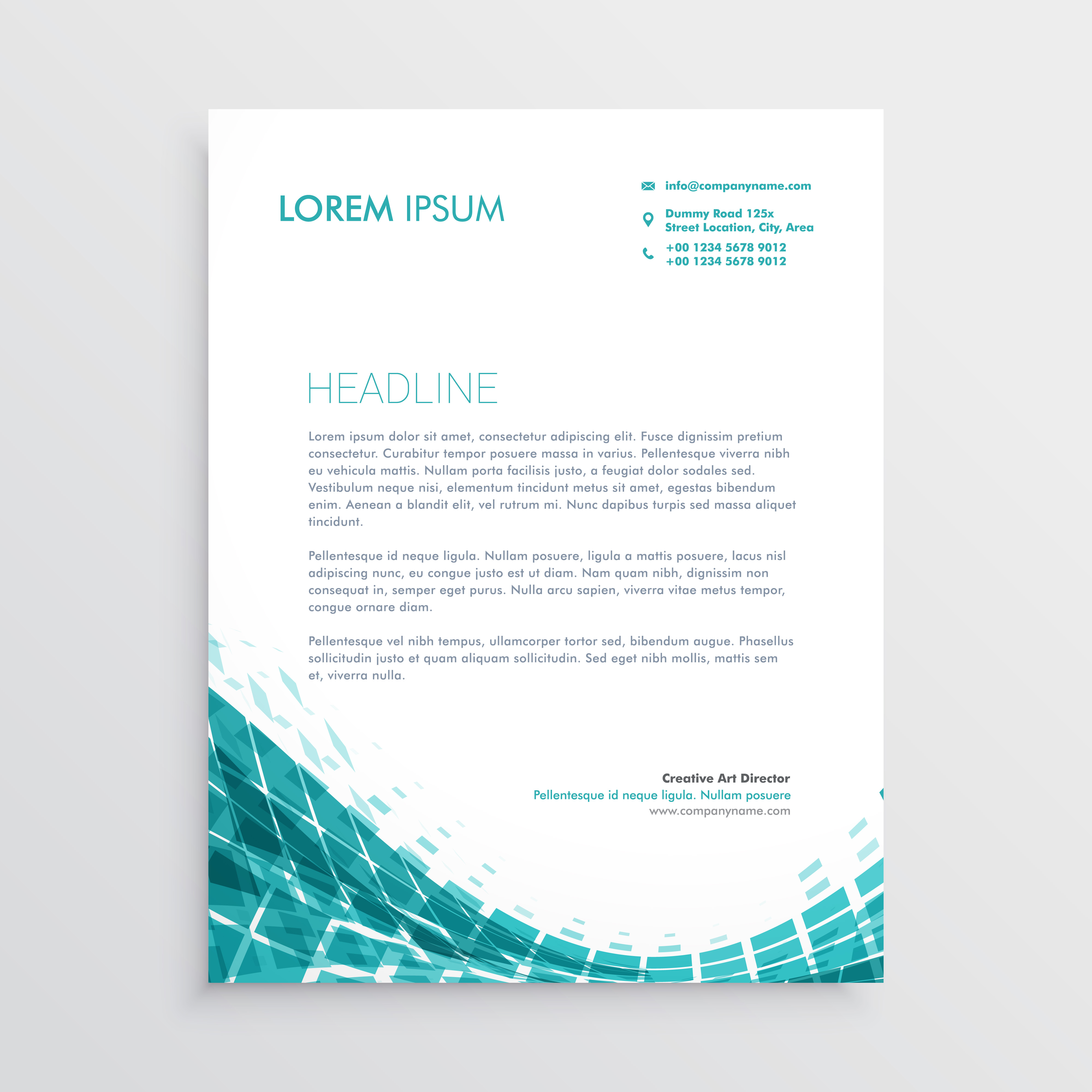Creative Letterhead Design Template With Abstract Blue Shapes Download Free Vector Art Stock