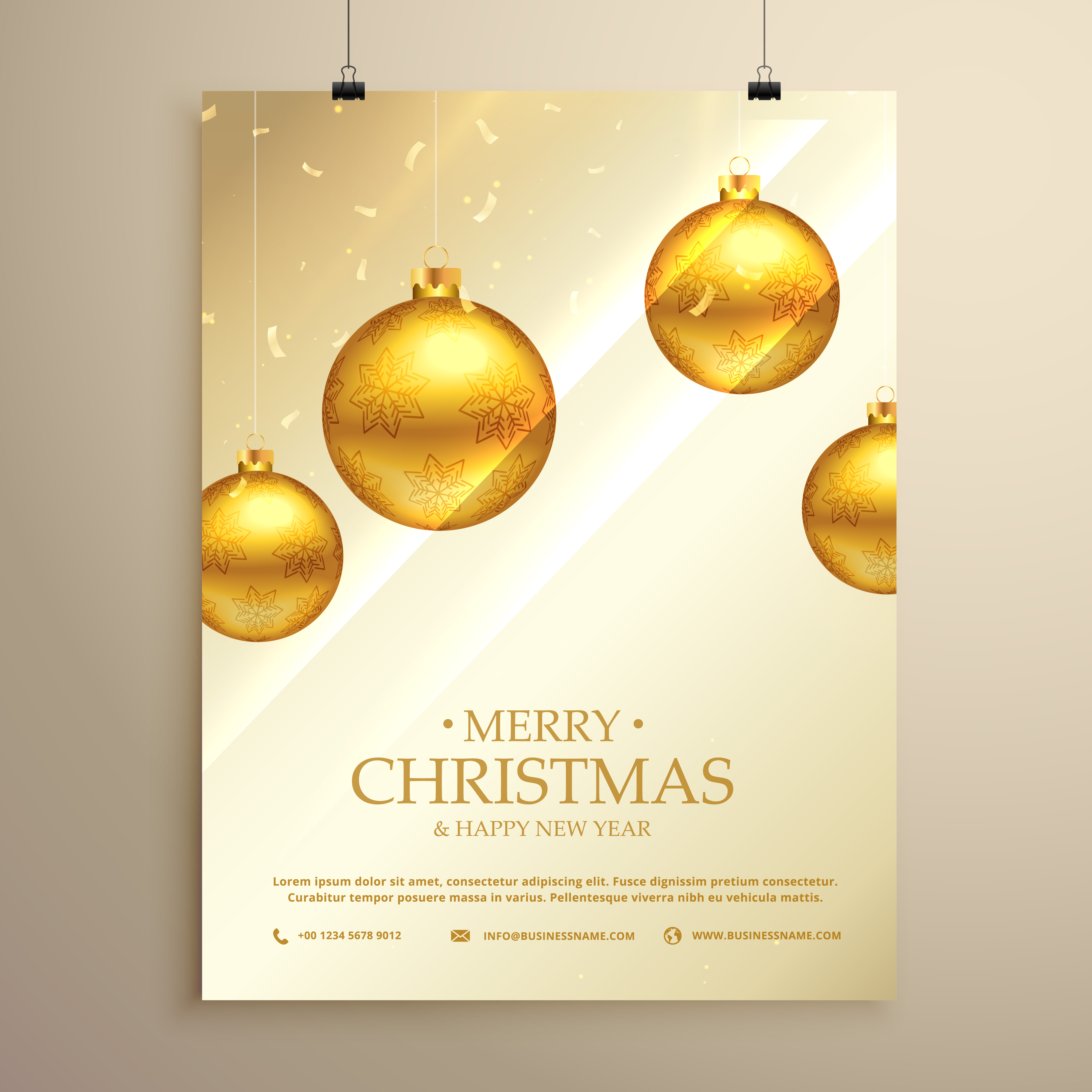 Christmas Flyer Brochure Template With Hanging Golden