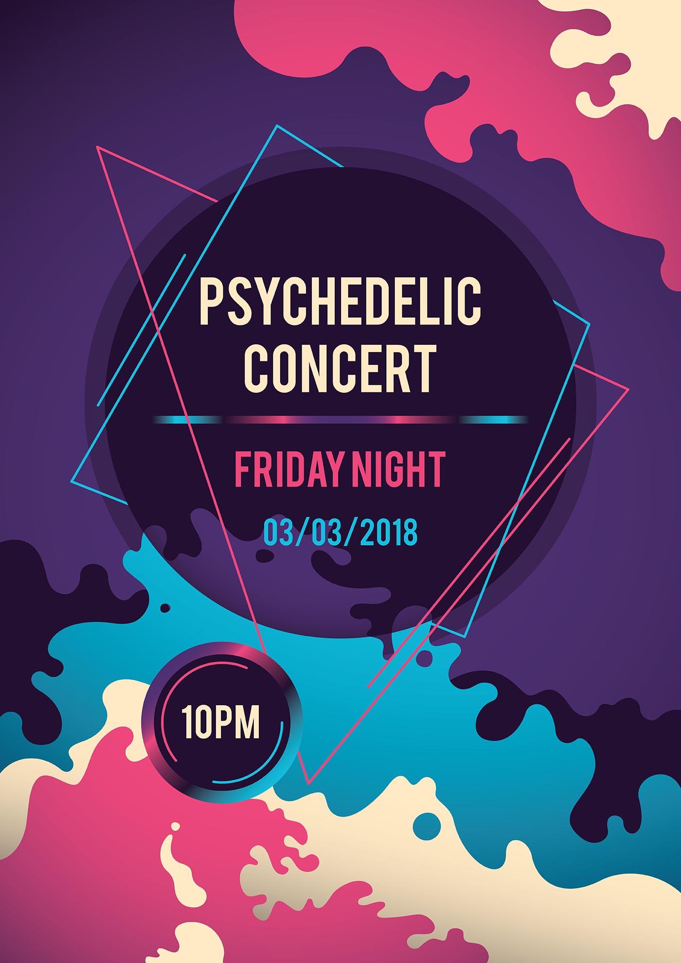 Psychedelic Concert Poster Download Free Vectors