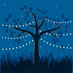 Magic Tree With Decorative Lights For Party Illustration Download Free Vectors Clipart Graphics Vector Art
