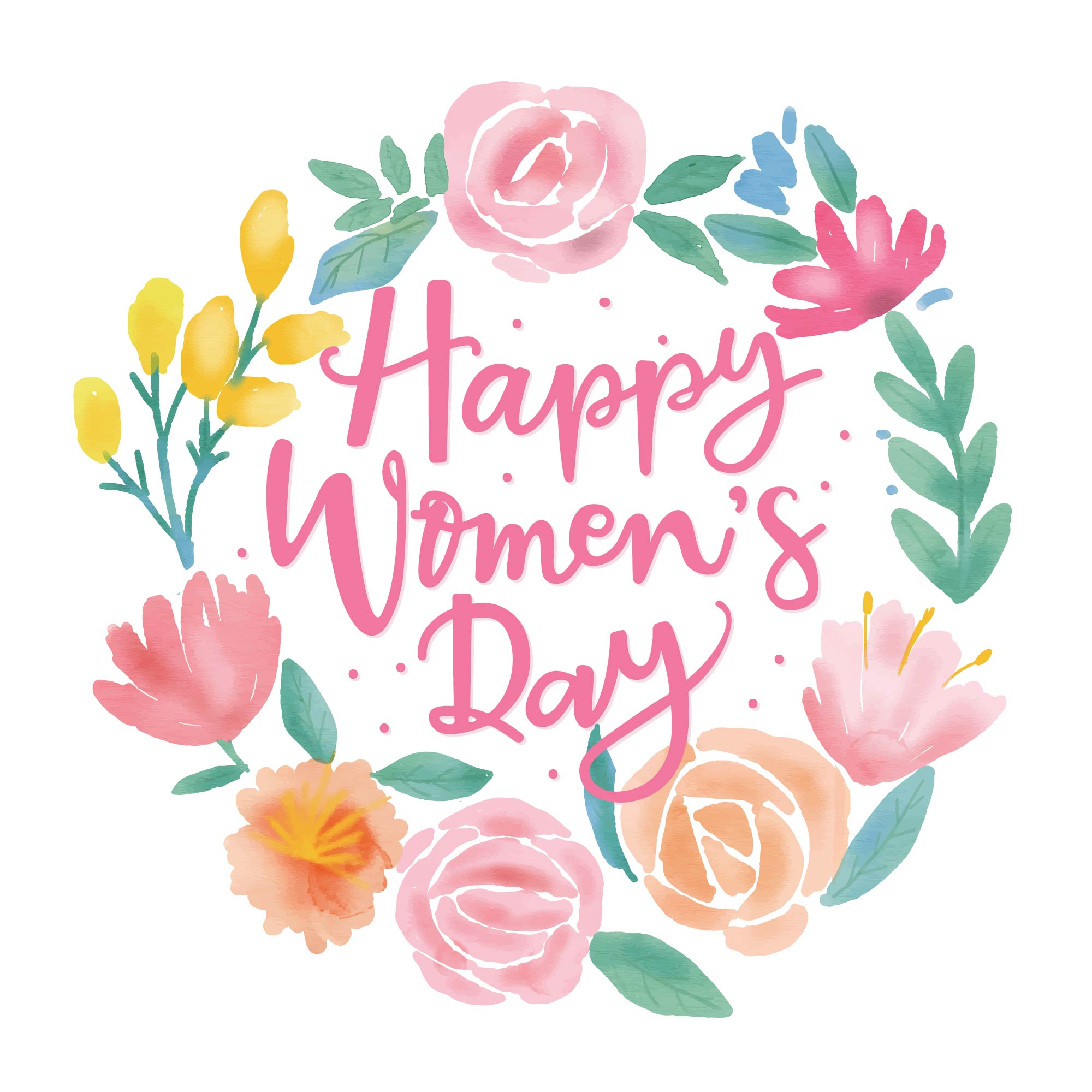 Happy Women S Day Flower Water Colour Vector