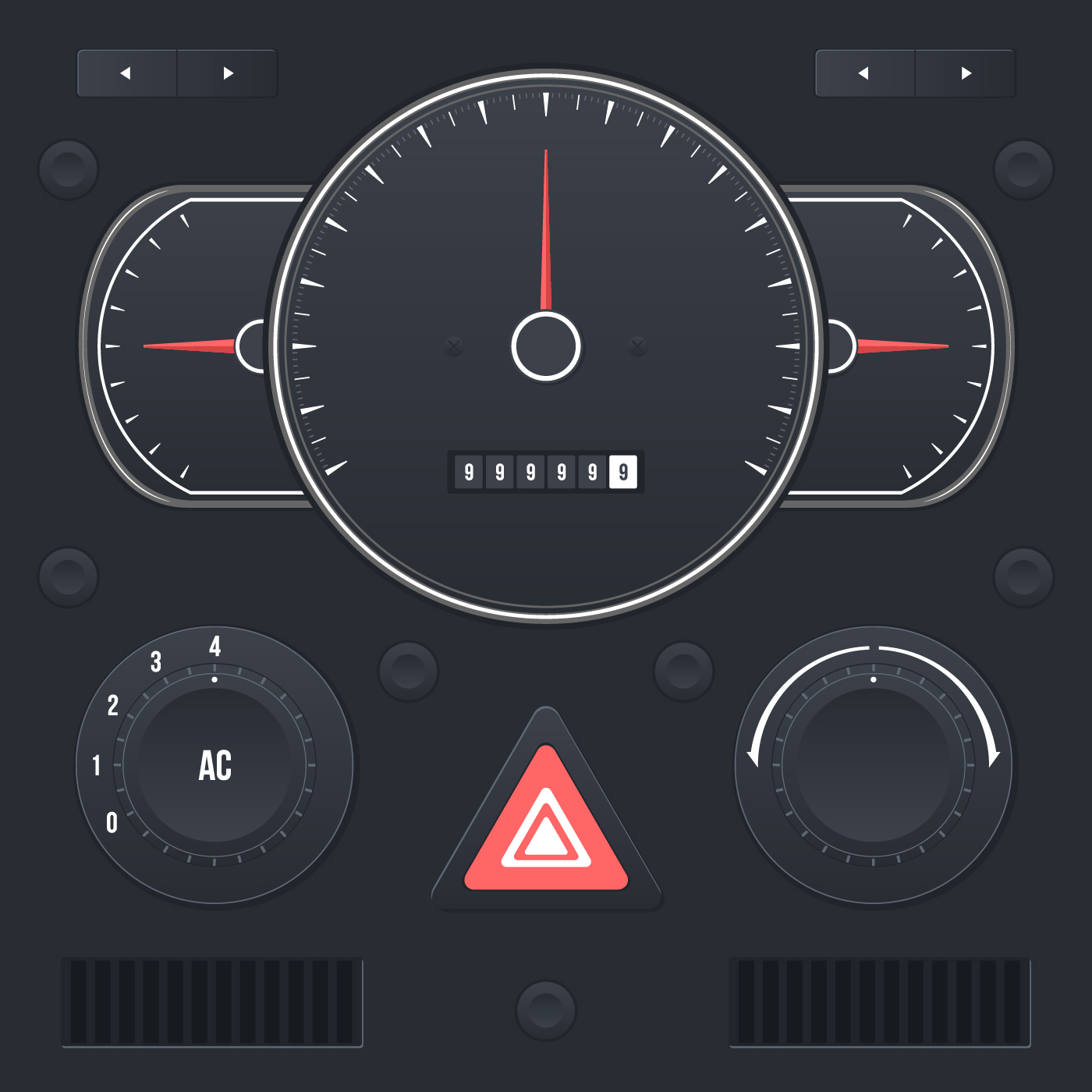 realistic car dashboard ui
