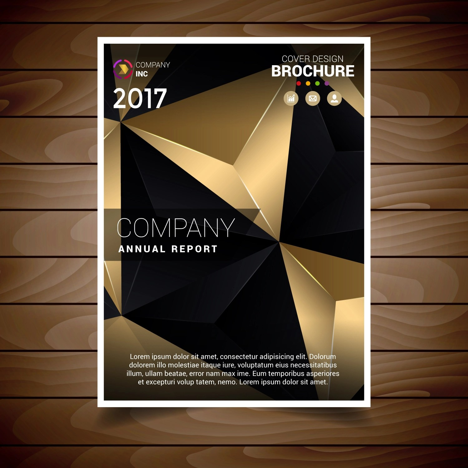 Gold And Blank Abstract Triangles Brochure Design Template Download Free Vector Art Stock