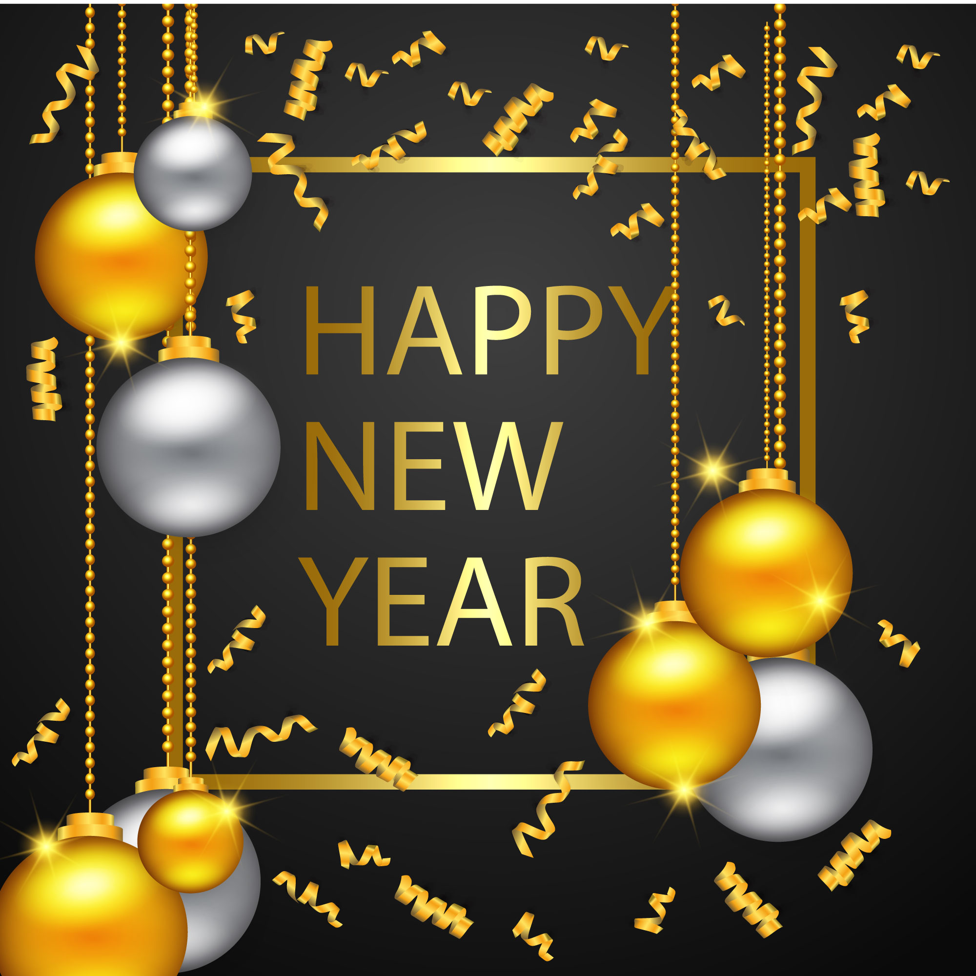 Happy New Year Gold And Black Colors