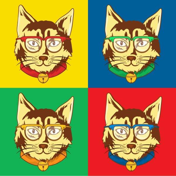 Cat Pop Art Illustration - Free Vector Stock