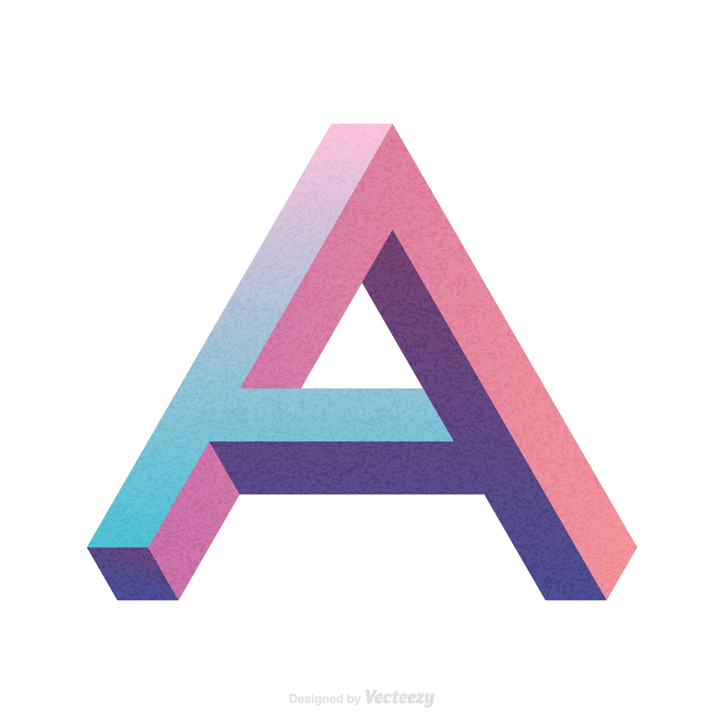 Isometric Letter A Typography Vector Design  Download