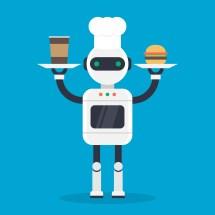 Modern Cook Robotic Mechanism Vector Illustration