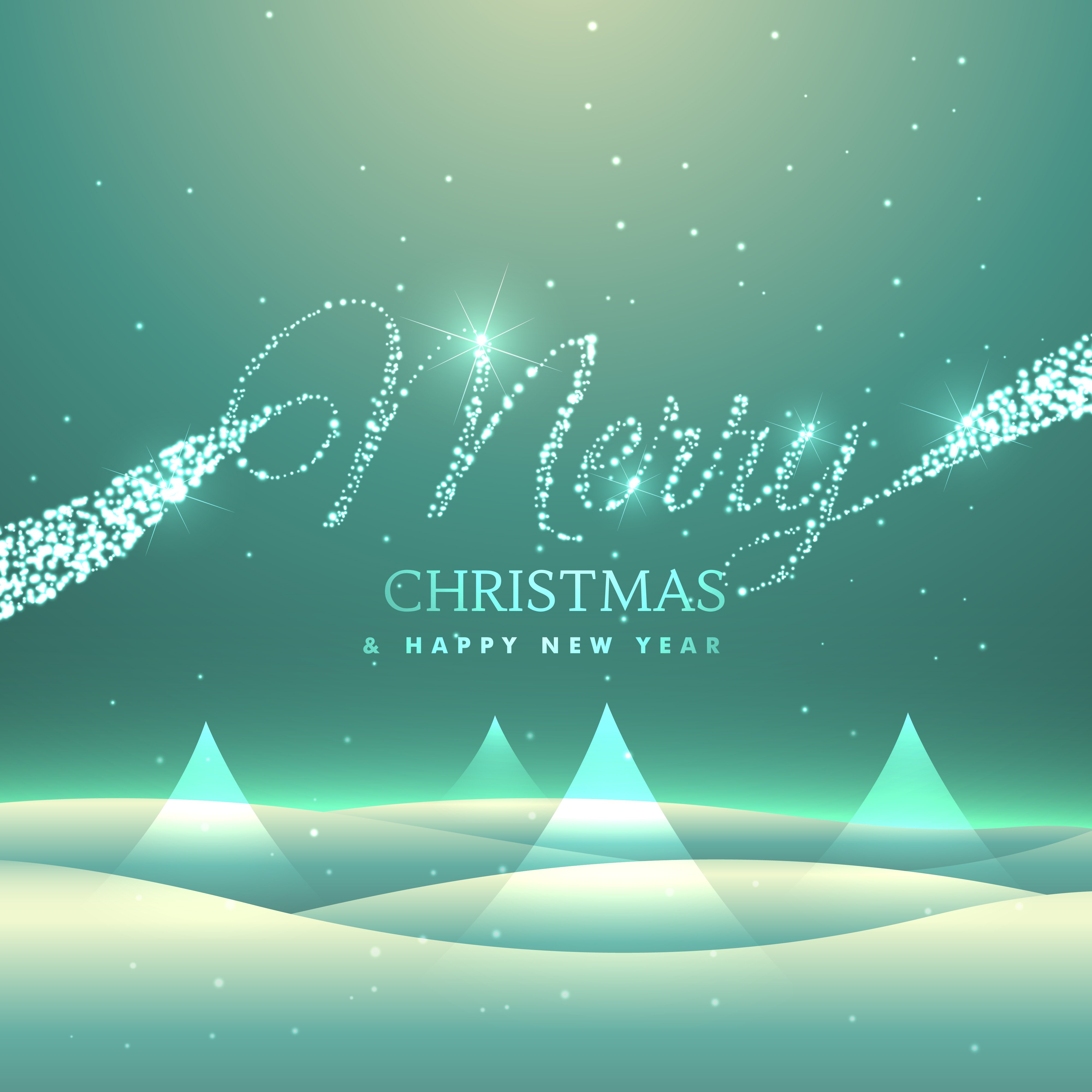 Magical Merry Christmas Greeting Card Design With Snowly