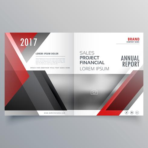 brochure magazine cover page template layout in red and