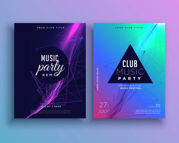 Music Party Invitation Poster Template Set - Free
