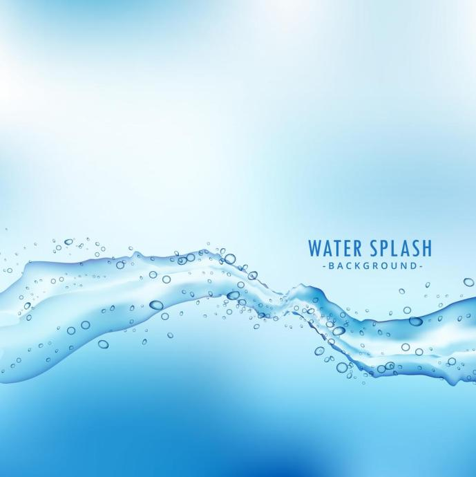 Water Liquid Splash Wave On Blue Background